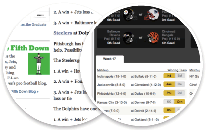 2010 NFL Playoff Scenarios, The New York Times Fifth Down Blog and the Yahoo Sports NFL Playoff Scenario Generator